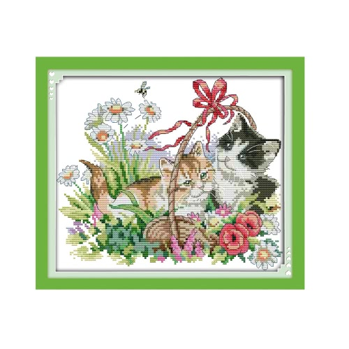 Costura hecha a mano DIY Cruz bordado Set exacto impreso hermosos gatos Kit patrones bordar 38 * 34cm decoración