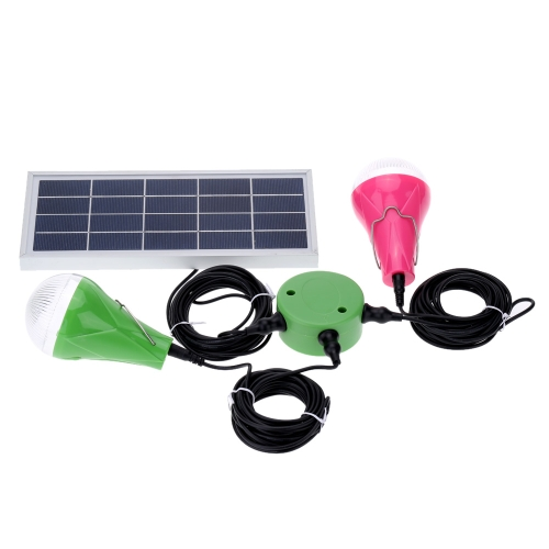 Solar LED Light with 2pcs Bulb Lamp 5W Practical Lighting System for Yard Outdoor Camping Use