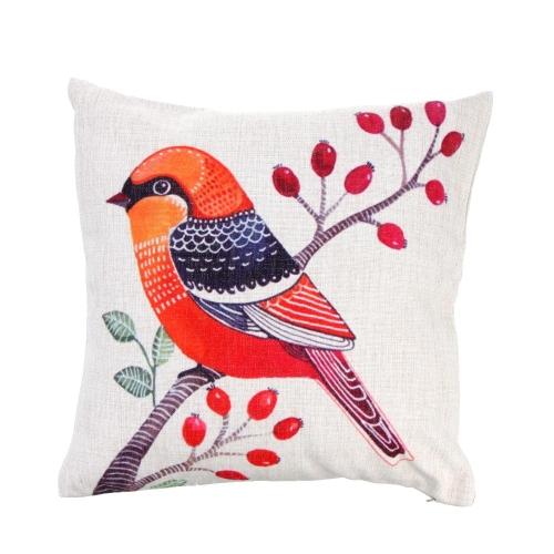 Simple estilo Rural pájaro algodón y funda de almohada lino nuevo cojín almohada funda para cama sofá coche hogar decoración decoración 45 * 45cm