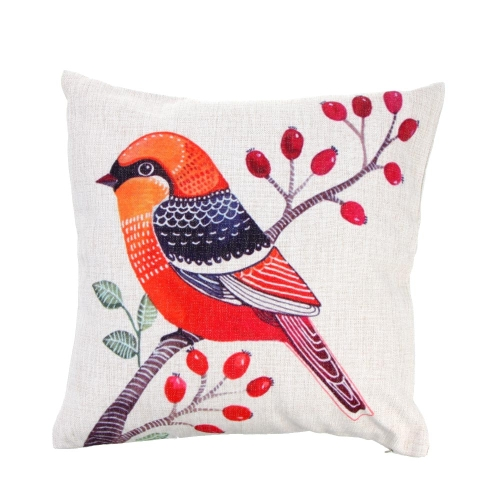 Simple Rural Style Bird Cotton and Linen Pillowcase Back Cushion Cover Throw Pillow Case for Bed Sofa Car Home Decorative Decor 45 * 45cm