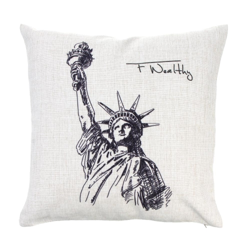 Statue of Liberty World Landmarks Cotton and Linen Pillowcase Back Cushion Cover Throw Pillow Case for Bed Sofa Car Home Decorative Decor 45 * 45cm