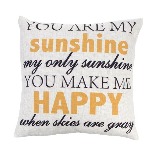 You Are My Sunshine Cotton and Linen Pillowcase Back Cushion Cover Throw Pillow Case for Bed Sofa Car Home Decorative Decor 45 * 45cm
