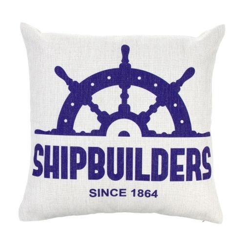 Anchor Sailboat Map Cotton and Linen Pillowcase Back Cushion Cover Throw Pillow Case for Bed Sofa Car Home Decorative Decor 45 * 45cm