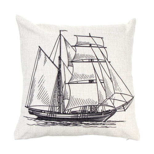 Anchor Sailboat Map Cotton and Linen Pillowcase Back Cushion Cover Throw Pillow Case for Bed Sofa Car Home Decorative Decor 45 * 45cm