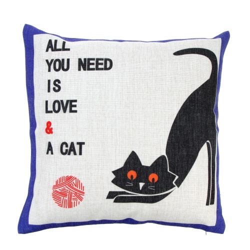 Lovely Cute Cat Cotton and Linen Pillowcase Back Cushion Cover Throw Pillow Case for Bed Sofa Car Home Decorative Decor 45 * 45cm
