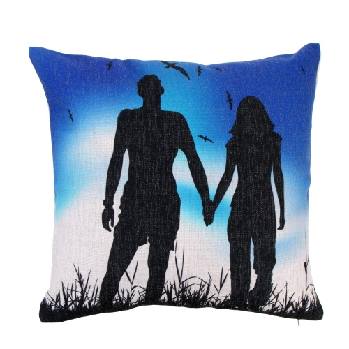 Artistic Lovers Silhouette Cotton and Linen Pillowcase Back Cushion Cover Throw Pillow Case for Bed Sofa Car Home Decorative Decor 45 * 45cm