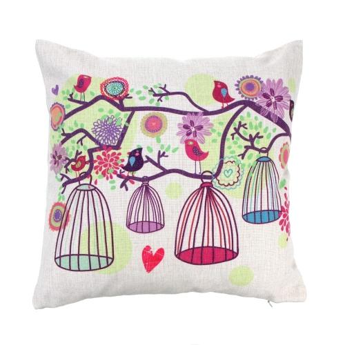 Árboles de estilo Rural fresco algodón y funda de almohada lino nuevo cojín almohada funda para cama sofá coche hogar decoración decoración 45 * 45cm