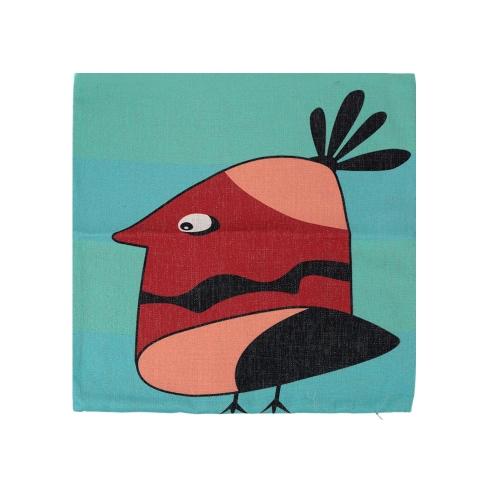 Cartoon Animals Parrot Owl Cotton and Linen Pillowcase Back Cushion Cover Throw Pillow Case for Bed Sofa Car Home Decorative Decor 45 * 45cm