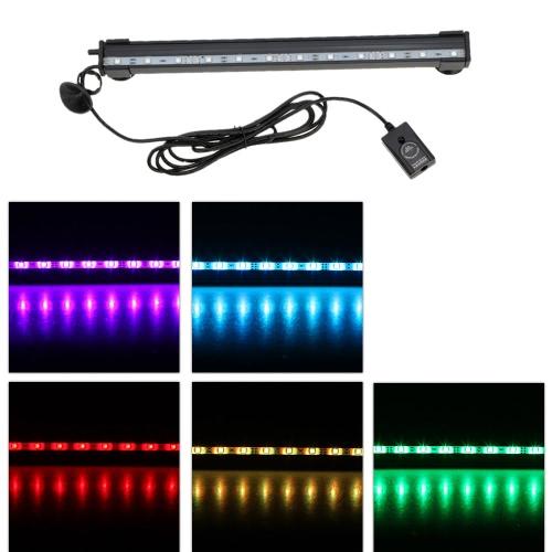 55cm 5.2W 21 LEDs Bubble Aquarium Light 120 Degree RGB 15Colors IP68   Submersible Remote Control Fish Tank LED Light Bar