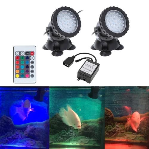 Underwater 72LEDs 3W 12V Waterproof IP68 Submersible 2-Light Spot Light  for Aquarium Garden Pond Pool Tank