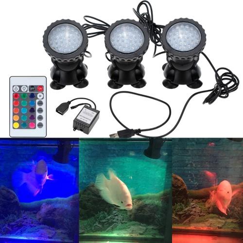 Underwater 108LEDs 4.5W 12V Waterproof IP68 Submersible 3-Light Spot   Light for Aquarium Garden Pond Pool Fountain Tank