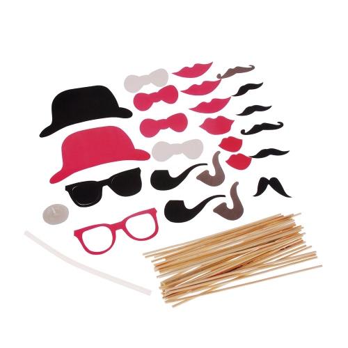 24Pcs Set Masque Barbe Lunettes Chapeau lèvre tabac à pipe pour Masquerade mariage de Noël de fête d'anniversaire Creative Décoration photo Props