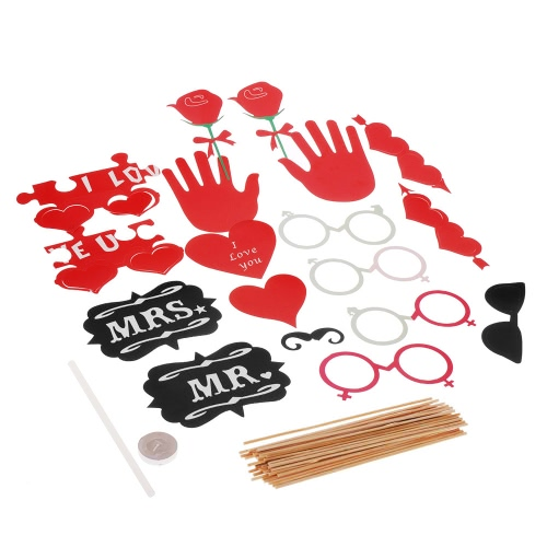 18Pcs Photo Props Mask Set for Wedding Party Friends Gathering Couple Photos Decoration