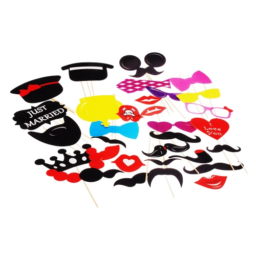 33Pcs Photo Props Mask Set for Wedding Christmas Birthday Party Beard Hat Glasses Lips Tobacco Pipe Creative Decoration