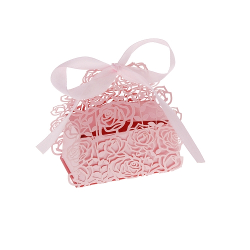 12Pcs Romantic Rose DIY Candy Cookie Gift Favor Box for Wedding Party with Ribbon Pink