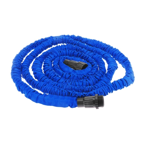 25FT Expandable Ultralight Garden Hose Fittings Set Flexible Water Pipe + Faucet Connector + Fast Connector + Valve + Multi-functional Spray Nozzle Blue