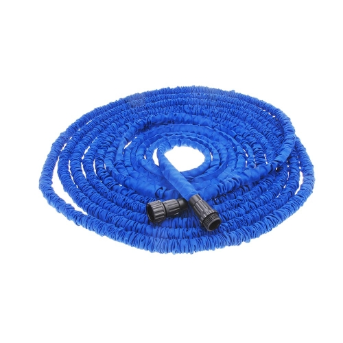100FT Expandable Ultralight Garden Hose Fittings Set Flexible Water Pipe + Faucet Connector + Fast Connector + Valve + Multi-functional Spray Nozzle Blue