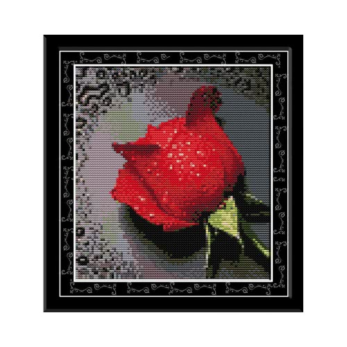 DIY Handmade Needlework Counted Cross Stitch Set Embroidery Kit 14CT Rose with Dew Pattern Cross-Stitching 26 * 27cm Home Decoration