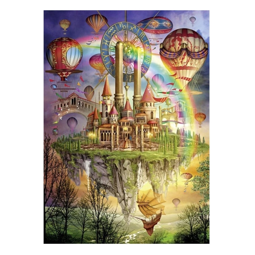 DIY Handmade Diamond Painting Set Flying Castle Resin Rhinestone Pasted Cross Stitch for Home Decoration 30*40cm