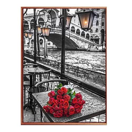DIY Manuel Diamant Tableau Set Rivière de Roses Résine Strass Collé Point de Croix pour la Décoration de Maison 30 * 45cm