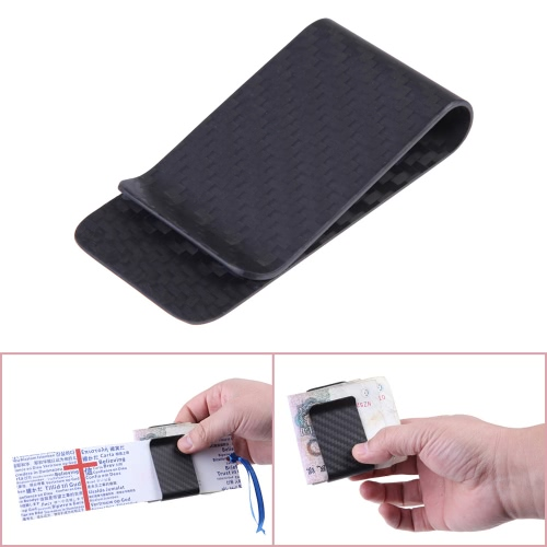 Real Carbon Fiber Money Clip Business Card Credit Card Cash Wallet Polished and Matte for Options