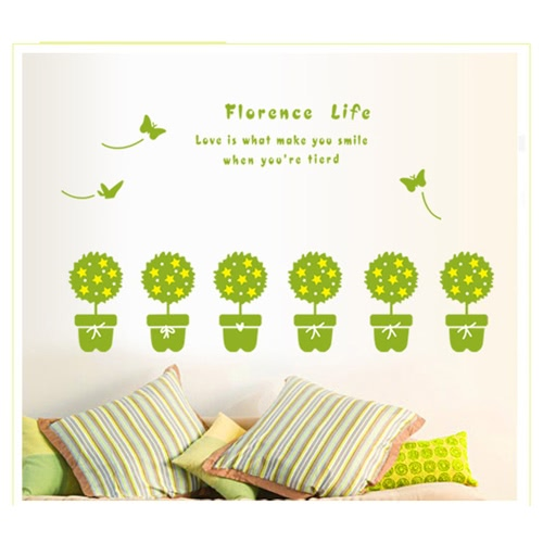 Removable Wall Decal Sticker Green Plant DIY Wallpaper Art Decals Mural for Room Decoration 50 * 70cm