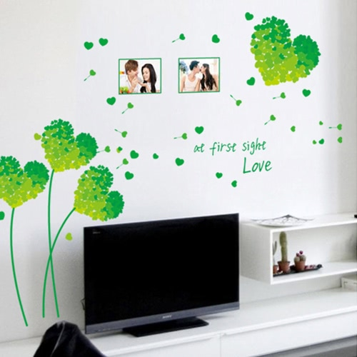 Removable Wall Decal Sticker Beautiful Love Dandelion DIY Wallpaper Art Decals Mural for Room Decoration 50 * 70cm