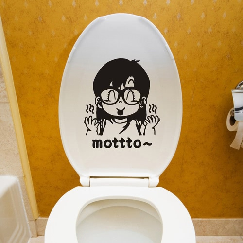 取り外し可能なトイレ デカール素敵な漫画文字ステッカー DIY 浴室の装飾紙を飾る 22 * 28 cm