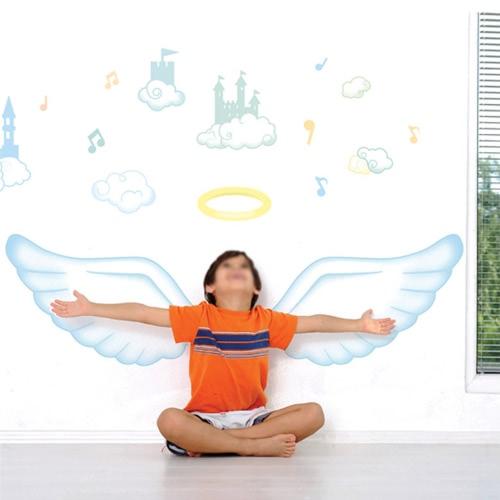 Съемный Декаль стены Стикер Картун Красивый ангел DIY Обои Искусство Наклейки Роспись для украшения комнаты 60 * 90cm