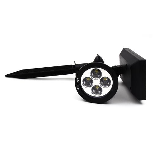 Image of Anself Solar Powered 4 LED Flutlicht Strahler Lichtsensor wasserdichte Lampe für Pathway Garten Garten Rasen