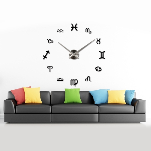 DIY Mirror Effect Wall Clock Creative Symbol Sticker Set Acrylic Art Design Home Decoration Black