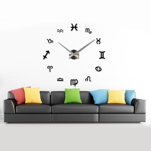 BRICOLAGE miroir effet Wall Clock symbole Sticker Set acrylique Art Design maison décoration noir