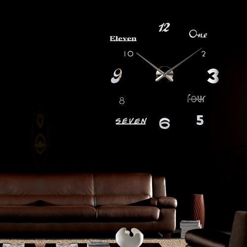 Modern DIY Mirror Effect Wall Clock Sticker Set Removable Acrylic Art Decor Home Decoration Silver