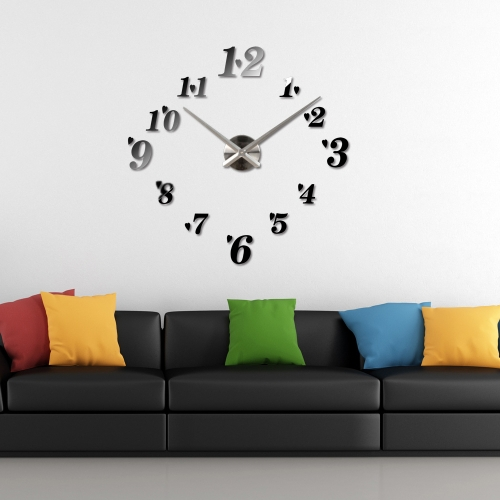 DIY Mirror Effect Wall Clock Simple Digits Acrylic Glass Decal Set Removable Home Decoration Black