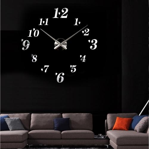 DIY Зеркальный эффект Настенные часы Простые Цифровые Акриловое стекло Декаль Набор съемного украшения дома Серебряный