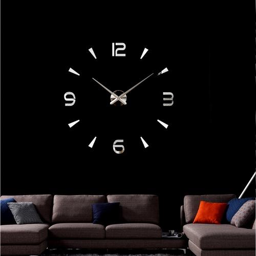 Простые Цифровые Зеркальный эффект Настенные Часы Творческие Съемная Акриловая Наклейка Настеный Декаль Комплект украшения дома Серебряный