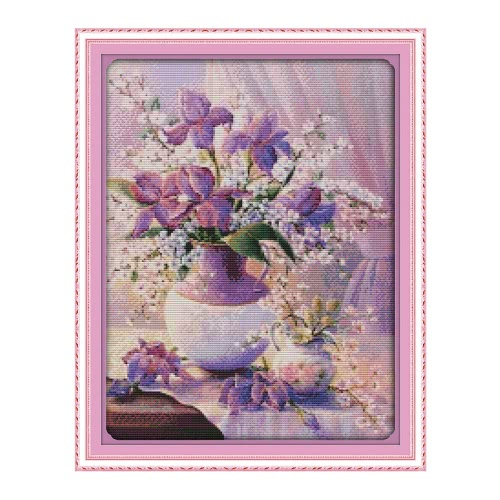 DIY Handmade Needlework Counted Cross Stitch Set Embroidery Kit 14CT Purple Vase Pattern Cross-Stitching 38 * 47cm Home Decoration