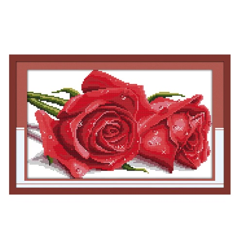 DIY Handmade Needlework Counted Cross Stitch Set Embroidery Kit 14CT Beautiful Roses Pattern Cross-Stitching 36 * 25cm Home Decoration
