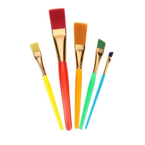 Anself 5pcs Kit de Pinceaux Assortis en Nylon Cheveux  avec Tête Plate Poignée en Plastique Pinceaux pour Aquarelle Gouache en Acrylique