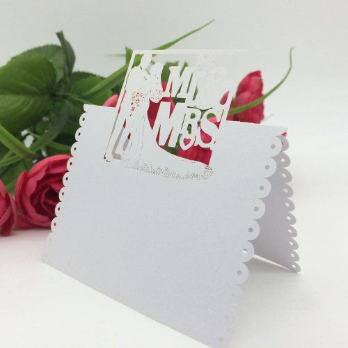 100Pcs Romantic White Mr & Mrs Table Mark Name Place Card Wedding Decoration