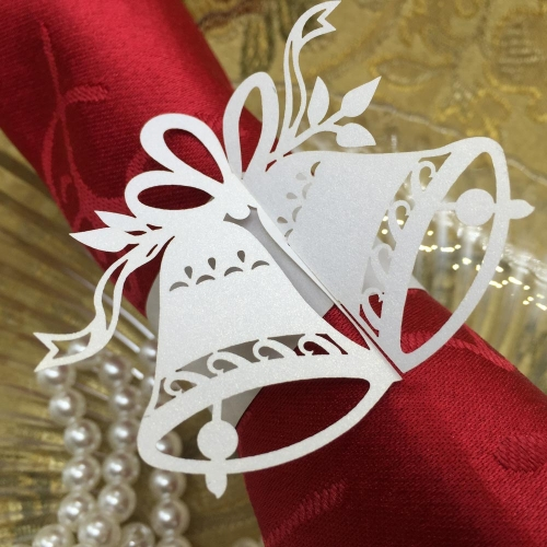 20pcs Elegant White Little Bells Paper Napkin Ring Holder Wedding Christmas Party Banquet Decoration