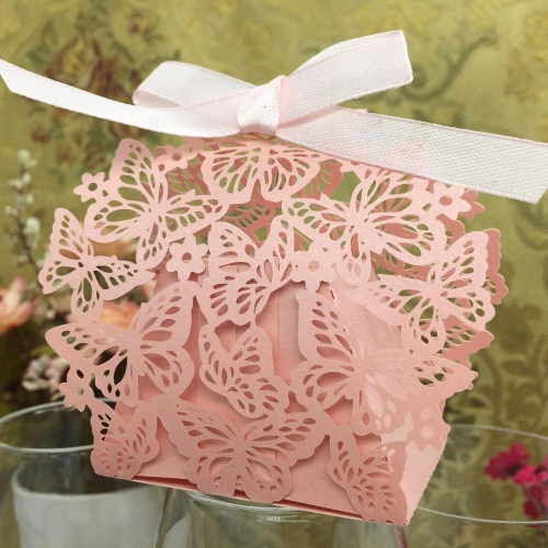 20pcs Romantic Butterfly DIY Candy Cookie Gift Box for Wedding Party with Ribbon Pink