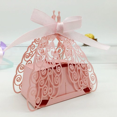 50pcs DIY Romantic Candy Cookie Gift box for Wedding Party Decorative Peacock Design Purple Ribbon