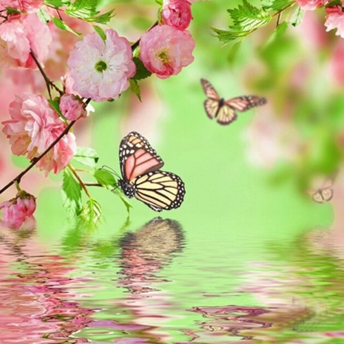 DIY Handmade Diamond Painting Set Butterflies on the Lake Resin Rhinestone Pasted Cross Stitch for Home Decoration 35*35cm
