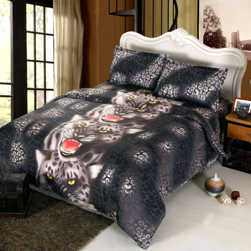 4pcs 3D Printed Bedding Set Bedclothes Black Tiger Queen/King Size Duvet Cover+Bed Sheet+2 Pillowcases