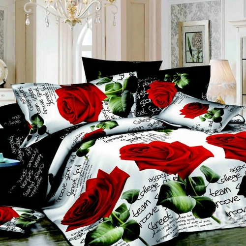 4pcs 3D Printed Bedding Set Bedclothes Red Rose In Full Bloom Queen/King  Size Duvet