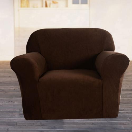 Hochwertige elastische weiche Polyester Spandex Schutzhülle Couch Sofa Cover 1 Sitzer braun