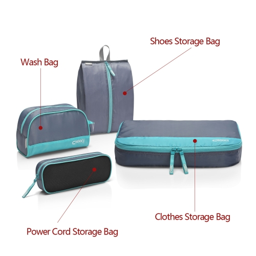 CHOOCI Portable High Quality Storage Bags Small Lightweight Travel Packing Bags Set with Four Separate Bags