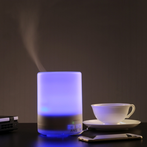 Anself 300ml Ultrasonic Air Humidifier Aroma Diffuser Fragrance Sprayer Office Purifier Mist Maker with Colorful LED Light AC100-240V