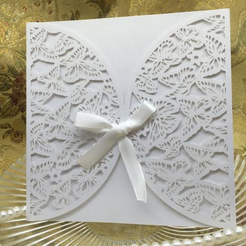 10шт Романтическая Карта Для Свадебных Приглашений Конверт Изысканный Резной паттерн бабочек